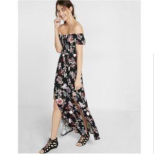 Express Floral Smocked Off The Shoulder Maxi Dress